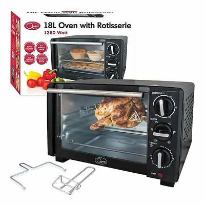Quest 18 Litre 1280w Mini Oven Rotisserie Grill Wire Rack Aluminised Bake Pan