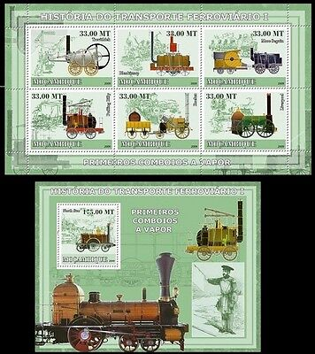 North Star, Engines, Train, Railways, Mozambique MNH Imperf MS+SS - E41