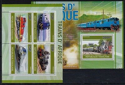 Railways, Train of Africa, Blue Train, Rosie, Togo MNH 2010 MNH MS+SS -E53