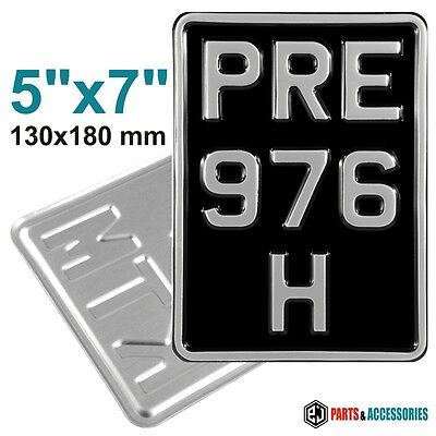 5x7 3 ROW SMALL Motorcycle Aluminium Metal PRESSED black and silver Number Plate