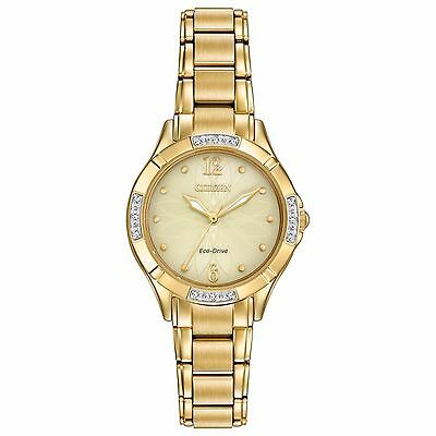 Citizen Eco-Drive Women's Diamond Accents Gold-Tone 30mm Watch EM0452-58P