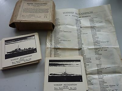 WW2 1943c  ROYAL NAVAL SILHOUETTES WARSHIP RECOGNITION CARDS COMPLETE