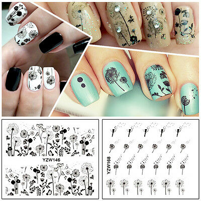 Nail Art Water Transfers Decals Stickers Black Dandelions Floral Gel Polish