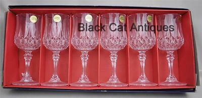 6 Elegant Cristal D'arques Longchamp Water / Wine Goblets. 8.5 oz. UNUSED 25 cl