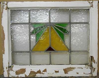"OLD ENGLISH LEADED STAINED GLASS WINDOW Abstract Design 21.75"" x 17.25"""