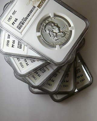 1957 to 1963 50c Silver Proof Franklin Half Dollars NGC PF 66 Seven Coin Lot