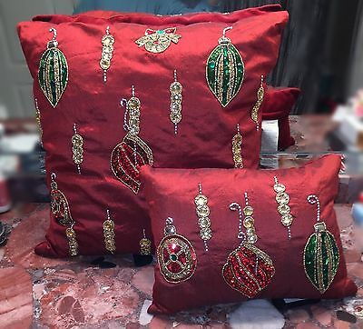 NWT Kim Seybert Neiman Marcus Red Beaded Holiday Christmas Ornaments Pillows