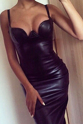 Robe Paddee Faux Cuir Noire- Taille M -Neuf -  Black  Bodycon Dress