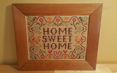 """Vintage Americana 14""""x17.5"""" Wood Framed Cross Stitch Embroidered HOME SWEET HOME"""