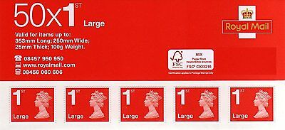 BRAND NEW 50 x Large Letter Royal Mail First 1st Class Self Adhesive Stamp Sheet