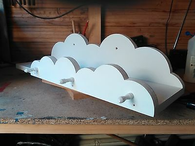 Clouds childrens shelf shelving, With Pegs  Bedroom Nursery