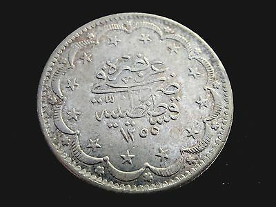 AH 1255/ Yr6 Turkey 20 Krush Silver Coin Looks AU K# 675