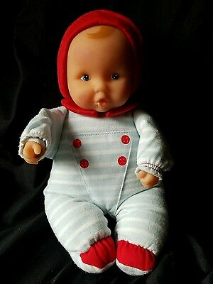 "Corolle Doll Boy Blue White Red Velour Doll 11"" Soft Plush Stuffed Body Toy 2007"