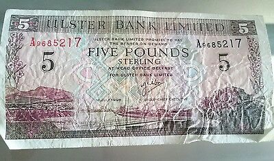 Northern Ireland 5 Pounds P335a Ulster Bank Dated 1st July 1998 UNC