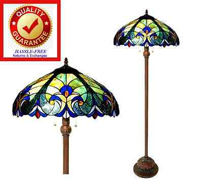 Victorian Tiffany Style Floor Lamp Bronze Finish Stained Glass Shade