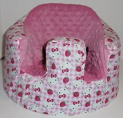 New Bumbo Floor Seat COVER • Pink w/HELLO KITTY/Strawberry • Safety Strap Ready
