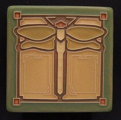 4x4 Arts & Crafts Dragonfly Tile in Sage by Arts & Craftsman Tileworks