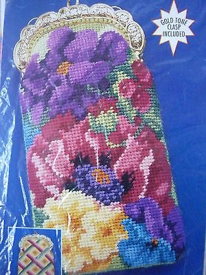 New Bucilla Floral Needlepoint Case Kit With Gold Coloured Clasp