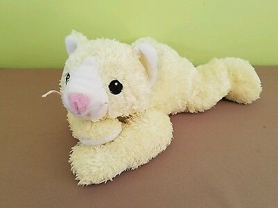 """Ty Baby With Rattle Pillow Pals Collection 2001 12 1/2"""" Yellow Cat"""