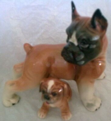 Hummel Goebel Boxer Dog and Puppy good condition no chips or cracks MNP 2357