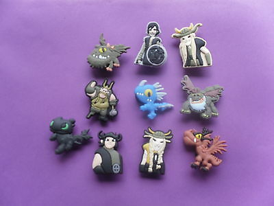 10 How to train your Dragon jibbitz crocs loom hair band shoe charm cake toppers