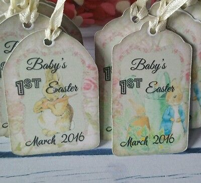 20x Personalised Baby Shower vintage Style labels peter rabbit easter gift Tags