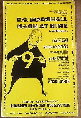 NASH AT NINE Original 1973 Herschfeld Broadway Poster Window Card