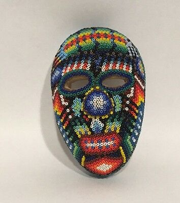 Vintage Clay Beaded Mini Mask Huichol Indian Folk Art Mexican Numbered