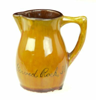 Vintage Souvenir Miniature Brown Yellow Ceramic Creamer Pitcher Starved Rock IL