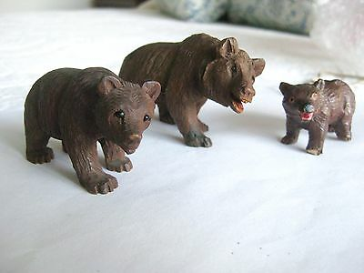 3 small vintage carved wood BEARS
