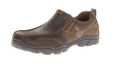 64072 Brown Skechers Shoes Men Memory Foam Casual Comfort Leather Slip On Loafer