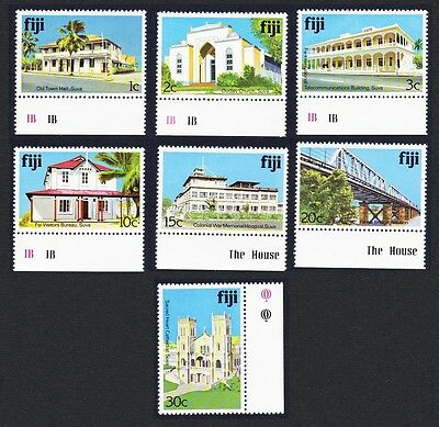 Fiji Architecture 7v Long site margins Ordinary Paper COMPLETE SG#580Ac/590Ac