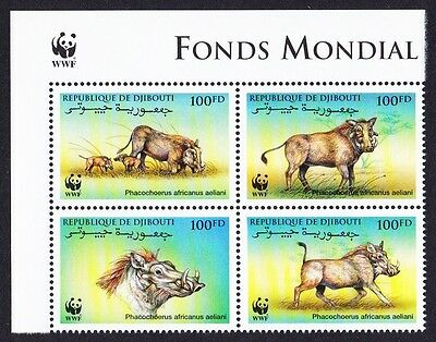 Djibouti WWF Eritrean Warthog 4v Upper Left block 2*2 with WWF Logo SG#1192/95