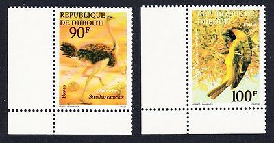 Djibouti Birds Ostrich Weaver 2v Corners with Margins SG#711/12 SC#462-63