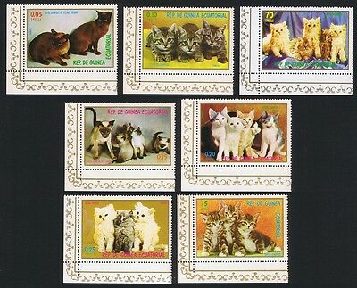 Eq. Guinea Cats and Kittens 7v Corners with margins MI#1016-22