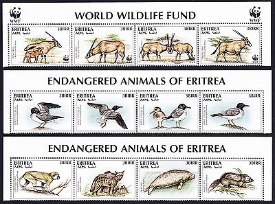 Eritrea WWF Beisa Oryx 12 stamps including 8 without WWF logo with Top Margins