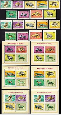 Guinea African Fauna 9v+6 MSs perf and imperf COMPLETE MH SG#658/MS667