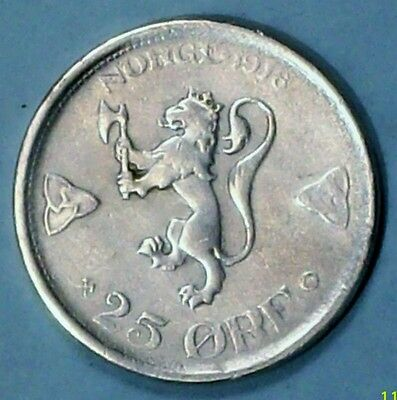 Norway 25 Ore 1918  Extra Fine 0.6000 Silver Coin