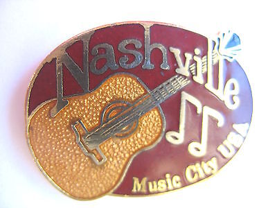 United States Town Lapel Pin - Nashville - Tennessee - Guitar