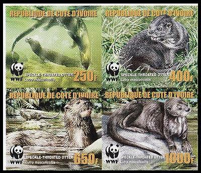 Ivory Coast WWF Speckle-throated Otter imperforated set of 4v with error