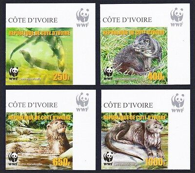 Ivory Coast WWF Speckle-throated Otter 4v Reprint Top Right Corners MI#1353B-56B