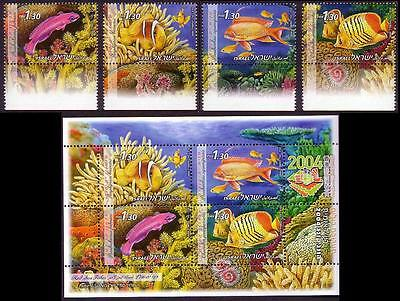 Israel Red Sea Fish 4v with tabs +MS issue 2004 SG#1681/85
