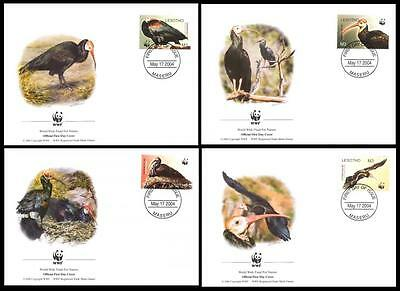 Lesotho WWF Southern Bald Ibis Birds 4 official FDCs head right