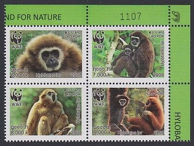 Laos WWF White-handed Gibbon 4v block 2*2 with Control Number SG#2021/24