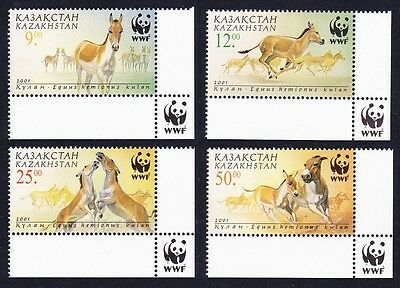 Kazakhstan WWF Kulan 4v with Bottom Right WWF Logo SG#332/35 SC#344-47 MI#345-48
