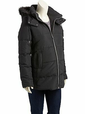 OLD NAVY MATERNITY Sz S 4 6 Faux Fur Trim Hooded Jacket Frost Free Puffer NEW