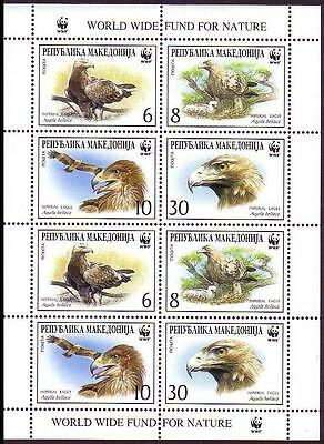 Macedonia WWF Imperial Eagle Sheetlet of 2 sets / 8 stamps SG#319/22 SC#206 a-d