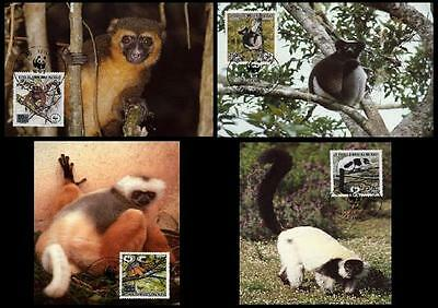 Malagasy Rep. WWF Primates in Peril 4 Official Maxicards