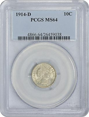 1914-D Barber Dime MS64 PCGS Mint State 64
