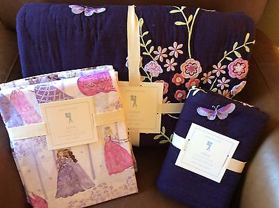 POTTERY BARN KIDS Sonja Embroidered Twin Quilt Sham, Princess Sheets 5pc Set NEW